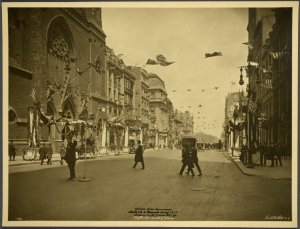 World War Commissions. British and French. Fifth Avenue, Looking North from 55th Street. Court of Honor.