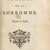 Le tombeau de la Sorbonne. (Title page)