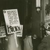 A. Philip Randolph and others picketing outside the Waldorf-Astoria Hotel, New York, during a testimonial dinner for United States Secretary of Defense Louis Johnson, to demand equal rights for African Americans in the military, December 1949.