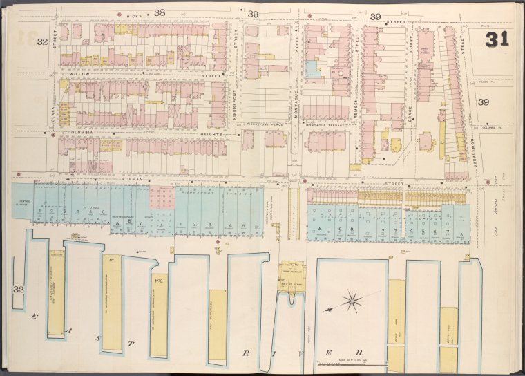 Brooklyn V. 2, Double Page Plate No. 31 [Map bounded by Clark St., Hicks St., Joralemon St., East River]