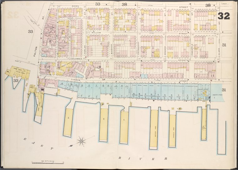 Brooklyn V. 2, Double Page Plate No. 32 [Map bounded by Hicks St., Clark St., East River, Fulton St.]
