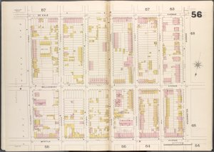 Brooklyn V. 2, Double Page Plate No. 56 [Map bounded by De Kalb Ave., Washington Ave., Myrtle Ave., Classon Ave.]