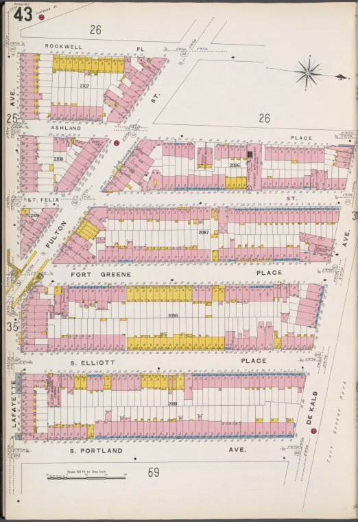 Brooklyn V. 2, Plate No. 43 [Map bounded by Lafayette Ave., Rockwell Pl., De Kalb Ave., S. Portland Ave.]