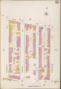 Brooklyn V. 2, Plate No. 52 [Map bounded by Vanderbilt Ave., Park Ave., Washington Ave., Myrtle Ave.]