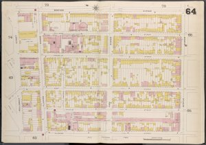 Brooklyn V. 3, Double Page Plate No. 64 [Map bounded by Bedford Ave., Myrtle Ave., Classon Ave., Wallabout St.]