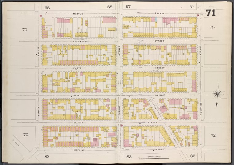 Brooklyn V. 3, Double Page Plate No. 71 [Map bounded by Myrtle Ave., Tompkins Ave., Hopkins St., Sumner Ave.]