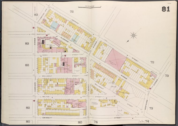 Brooklyn V. 3, Double Page Plate No. 81 [Map bounded by Hopkins St., Nostrand Ave., Gwinnett St., Harrison Ave.]
