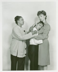 [Rosetta LeNoire (Bloody Mary), Coco Ramirez (Liat) and Allyn Ann McLerie (Nellie Forbush) in the 1961 revival of South Pacific]