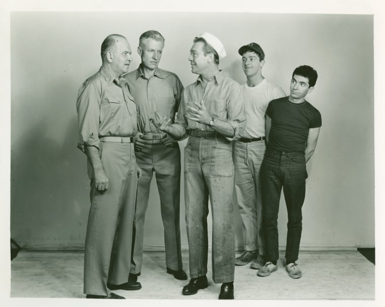 [Edmund Baylies (Capt. George Brackett), Wesley Addie (Cmdr. William Harbison), Dort Clark (Luther Billis), Jeff Harris (Stewpot) and Art Ostrin (Professor) in the 1961 revival of South Pacific]