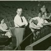 Richard Rodgers (music) and Agnes De Mille (director and choreographer) and others at rehearsal for Allegro]