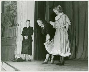 [Lucinda Ballard (costumes), center, during costume parade for Allegro]
