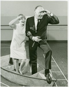 [Florence Henderson (Nellie Forbush) and Georgio Tozzi (Emile de Becque) in rehearsal for the 1967 revival of South Pacific]