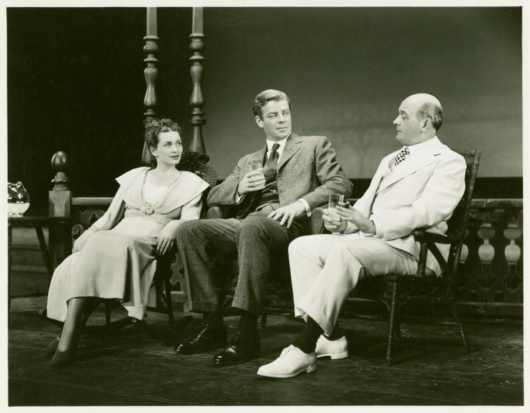 [Annamary Dickey (Marjorie Taylor), William Ching (Dr. Joseph Taylor) and Paul Parks (Ned Brinker) in Allegro]