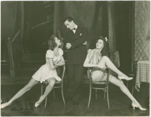 [George Tapps (Joey Evans replacement) and two chorus girls in Pal Joey]