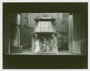 [Muriel Angelus (Adriana) and cast members in The Boys from Syracuse. Set by Jo Mielziner.]