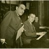 Lorenz Hart (lyrics), Richard Rodgers (music) and Margot Hopkins [Millham] (rehearsal pianist) in rehearsal for By Jupiter