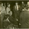 Benay Venuta (Hippolyta), Margot Hopkins [Millham] (rehearsal pianist), Richard Rodgers (music), Richard Kollmar (producer), Dwight Deere Wiman (producer), Johnny Green (musical director) and others at rehearsal for By Jupiter