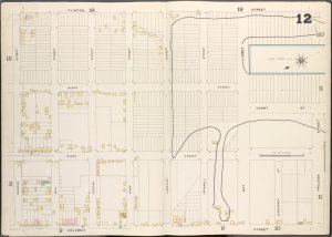 Brooklyn, V. 1, Double Page Plate No. 12 [Map bounded by Clinton St., Halleck St., Columbia St., Church St.]