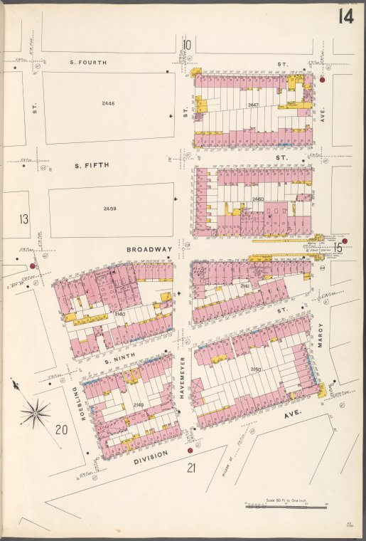 Brooklyn V. 3, Plate No. 14 [Map bounded by S.4th St., Marcy Ave., Division Ave., Roebling St.]