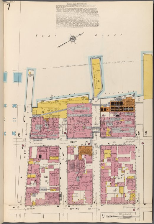 Brooklyn V. 3, Plate No. 7 [Map bounded by East River, S.2nd St., Wythe Ave., S.5th St.]
