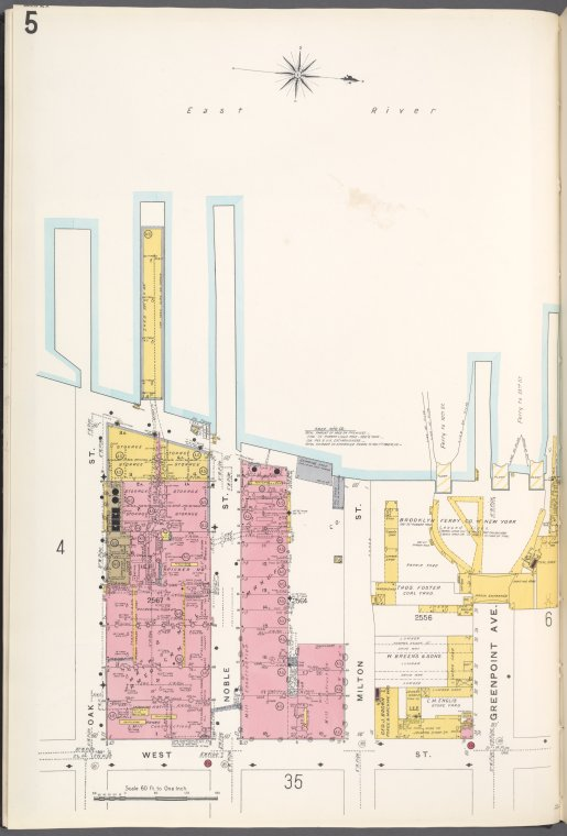 Brooklyn V. 4, Plate No. 5 [Map bounded by Oak St., East River, Greenpoint Ave., West St.]