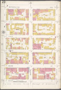 Brooklyn V. 4, Plate No. 23 [Map bounded by Metropolitan Ave., Humboldt St., Maujer St., Manhattan Ave.]