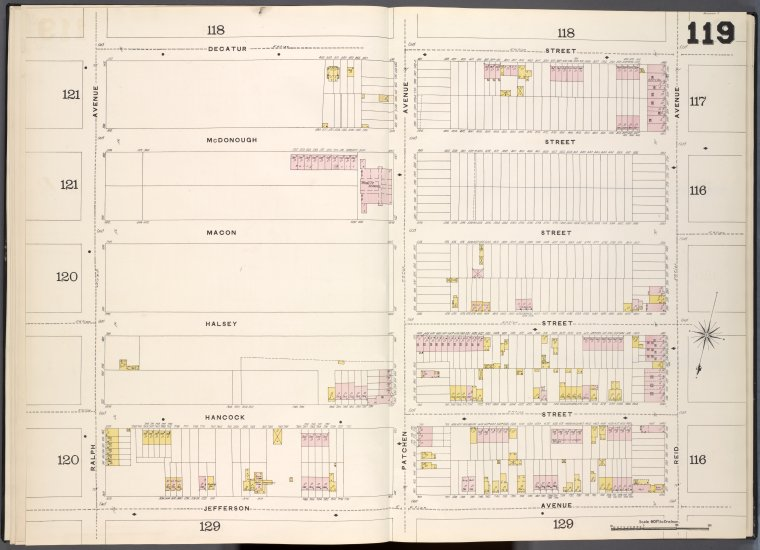 Brooklyn, V. 5, Double Page Plate No. 119 [Map bounded by Decatur St., Reid Ave., Jefferson Ave., Ralph Ave.]