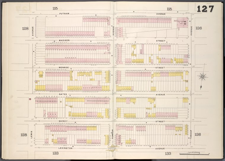 Brooklyn, V. 5, Double Page Plate No. 127 [Map bounded by Putnam Ave., Throop Ave., Lexington Ave., Lewis Ave.]