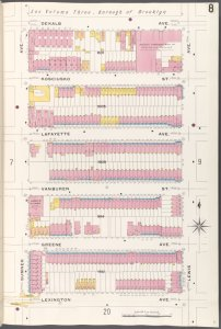 Brooklyn V. 5, Plate No. 8 [Map bounded by Dekalb Ave., Lewis Ave., Lexington Ave., Sumner Ave.]