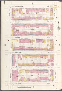 Brooklyn V. 5, Plate No. 17 [Map bounded by Lexington Ave., Tompkins Ave., Putnam Ave., Marcy Ave.]