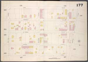 Brooklyn, V. 7, Double Page Plate No. 177 [Map bounded by Park Place, Bedford Ave., Dean St., New York Ave.]