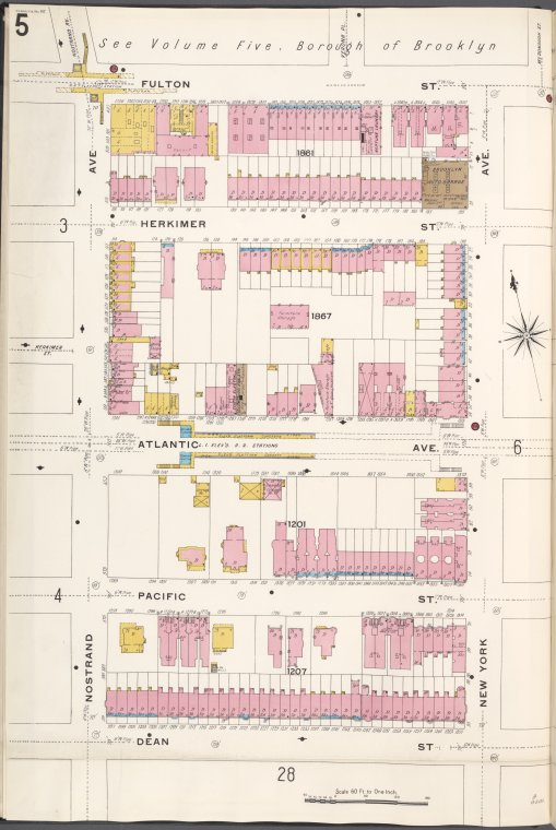 Brooklyn V. 7, Plate No. 5 [Map bounded by Fulton St., New York Ave., Dean St., Nostrand Ave.]