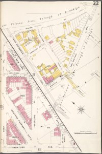 Brooklyn V. 7, Plate No. 22 [Map bounded by Fulton St., E. New York Ave., Saratoga Ave., Park Pl.]