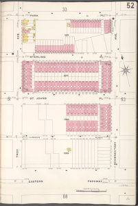 Brooklyn V. 7, Plate No. 52 [Map bounded by Park Pl., Schenectady Ave., Eastern Parkway, Troy Ave.]