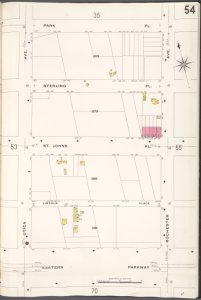 Brooklyn V. 7, Plate No. 54 [Map bounded by Park Pl., Rochester Ave., Eastern Parkway, Utica Ave.]