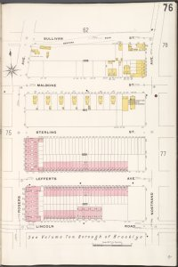 Brooklyn V. 7, Plate No. 76 [Map bounded by Sullivan St., Nostrand Ave., Lincoln Rd., Rogers Ave.]