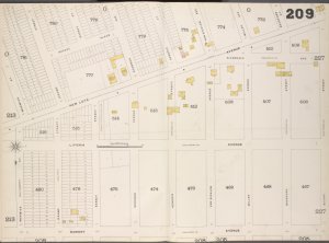 Brooklyn, V. 8, Double Page Plate No. 209 [Map bounded by New Lots Ave., Wyona St., Dumont Ave., Warwick St.]