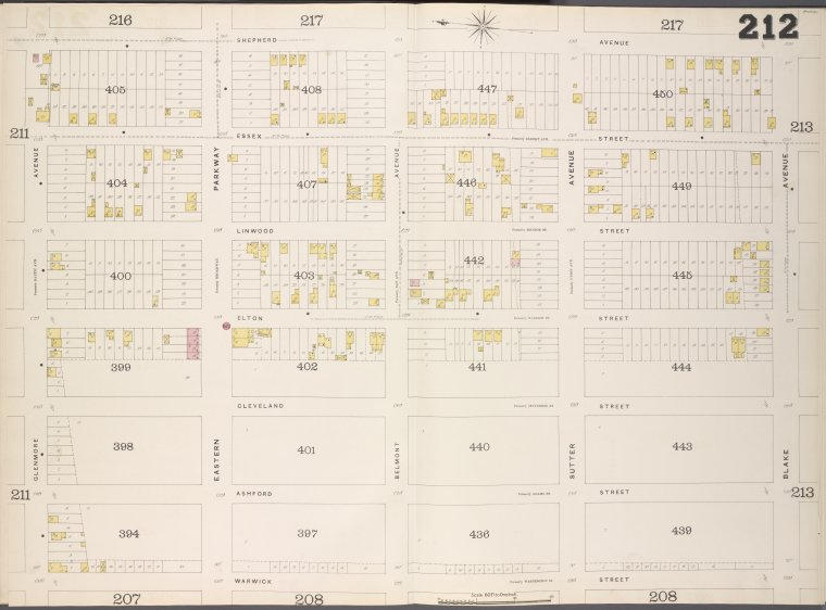 Brooklyn, V. 8, Double Page Plate No. 212 [Map bounded by Shepherd Ave., Blake Ave., Warwick St., Glenmore Ave.]