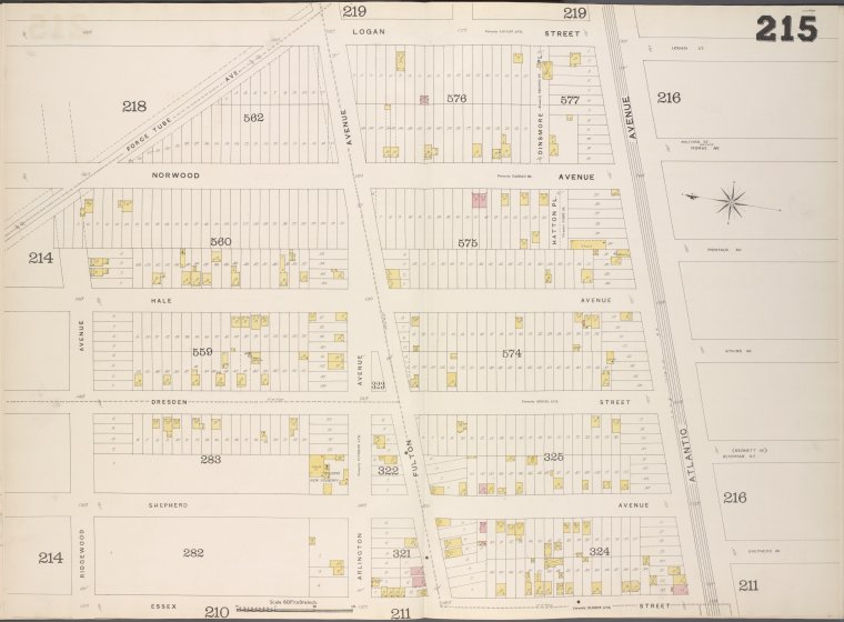 Brooklyn, V. 8, Double Page Plate No. 215 [Map bounded by Logan St., Atlantic Ave., Essex St., Ridgewood Ave.]