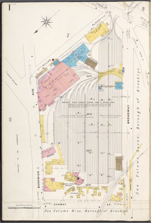 Brooklyn V. 8, Plate No. 1 [Map bounded by Gillen Pl., Broadway, Conway St., Bushwick Ave.]