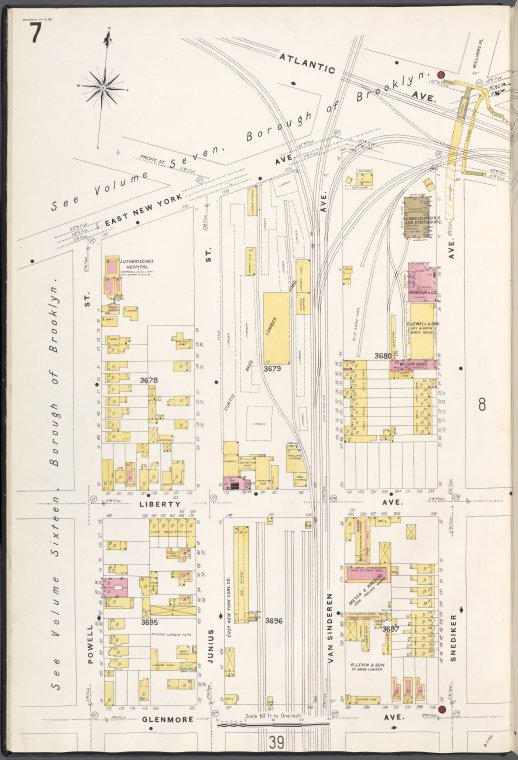 Brooklyn V. 8, Plate No. 7 [Map bounded by E. New York Ave., Snediker Ave., Glenmore Ave., Powell St.]