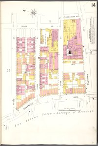 Brooklyn V. 9, Plate No. 14 [Map bounded by Evergreen Ave., Flushing Ave., Bushwick Ave., Moore St.]
