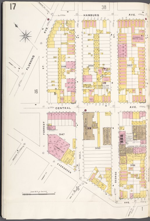 Brooklyn V. 9, Plate No. 17 [Map bounded by Hamburg Ave., Melrose St., Evergreen Ave., Flushing Ave.]