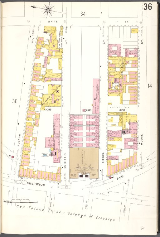 Brooklyn V. 9, Plate No. 36 [Map bounded by White St., Moore St., Bushwick Ave., Boerum St.]