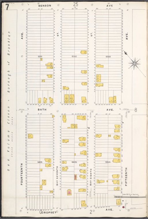 Brooklyn V. 12, Plate No. 7 [Map bounded by Benson Ave., 15th Ave., Cropsey Ave., 14th Ave.]