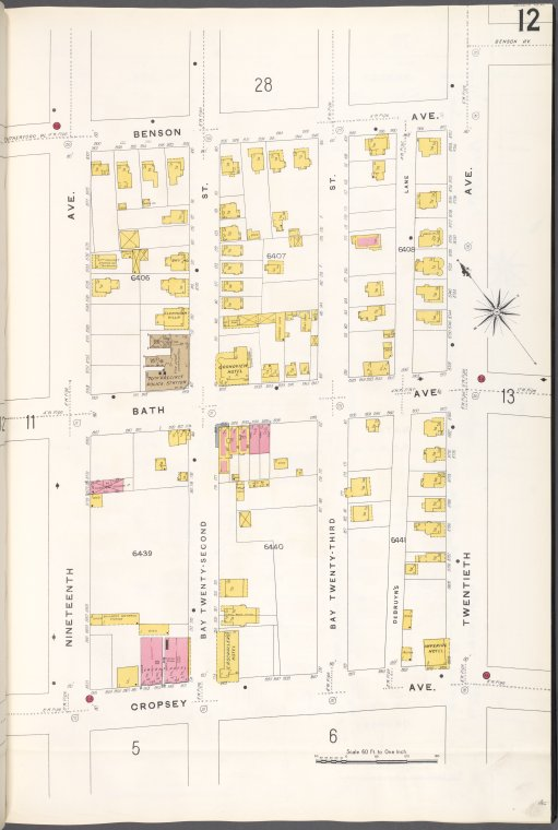 Brooklyn V. 12, Plate No. 12 [Map bounded by Benson Ave., 20th Ave., Cropsey Ave., 19th Ave.]