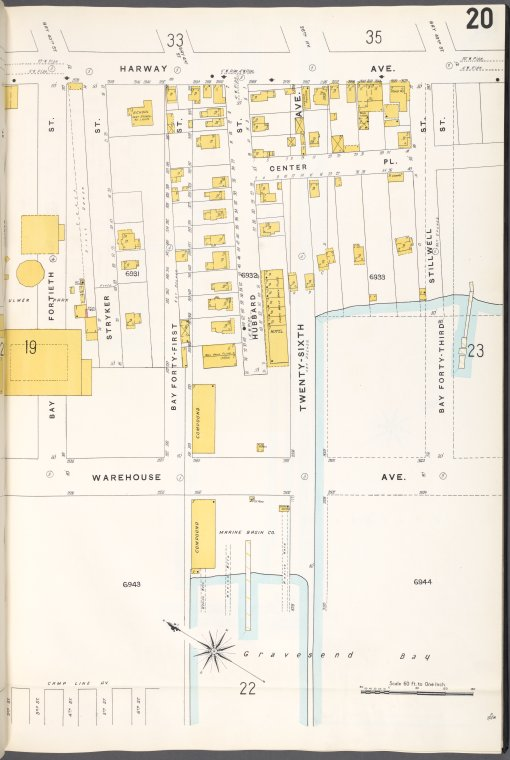 Brooklyn V. 12, Plate No. 20 [Map bounded by Harway Ave., Bay 43rd St., Warehouse Ave., Bay 40th St.]