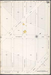 Brooklyn V. 12, Plate No. 54 [Map bounded by 14th Ave., 37th St., 16th Ave., 41st St.]
