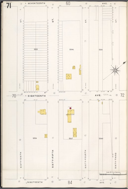 Brooklyn V. 12, Plate No. 71 [Map bounded by 17th Ave., 63rd St., 19th Ave., 66th St.]