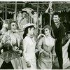 Susan Watson (Carrie Pipperidge), Eileen Christy (Julie Jordan), John Raitt (Billy Bigelow) and cast in the 1965 revival of Carousel]
